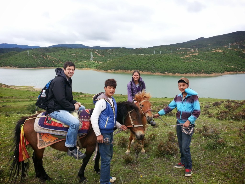 Clients on a horseback riding tour