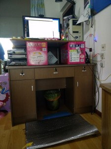 Excuse the mess. This is my temporary standing desk.